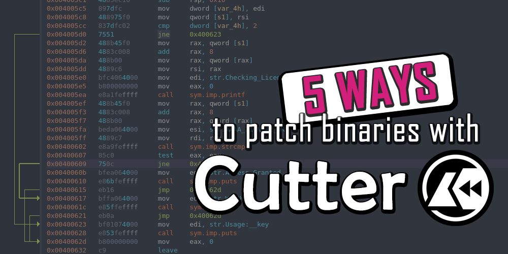 5 Ways to patch binaries with Cutter - banner